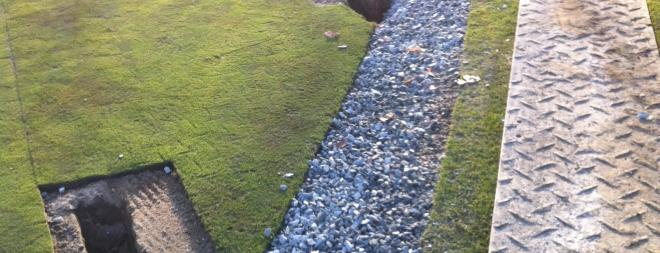 Finished drain trench prior to sodding
