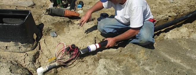 Athletic field pipe connection
